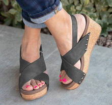 Load image into Gallery viewer, Women's Microfiber Peep Toe Velcro Middle Wedge Heel Sandals