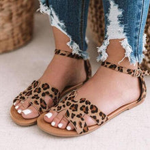 Load image into Gallery viewer, Women's Leopard/Snake Print Microfiber Peep Toe Adjustable Buckle Flat Sandals