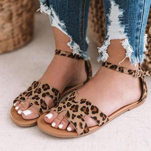 Women's Leopard/Snake Print Microfiber Peep Toe Adjustable Buckle Flat Sandals