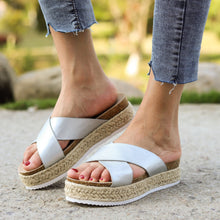 Load image into Gallery viewer, Women's Round Toe Cross-band Espadrille Middle Platform Heel Slippers