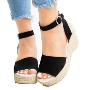 Women's PU Peep Toe Adjustable Buckle High Wedge Sandals