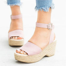 Load image into Gallery viewer, Women's PU Peep Toe Adjustable Buckle High Wedge Sandals