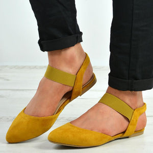 Women's Suede Point Toe Slip-On Flat?Sandals