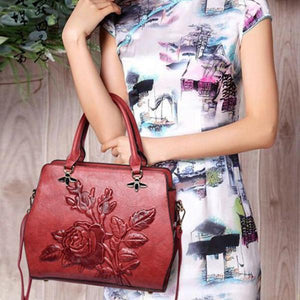 Rose Embroidery Tote Handbag Crossbody Bag