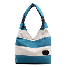 Load image into Gallery viewer, Canvas Stripe Tote Bag Shopping Shoulder Bag