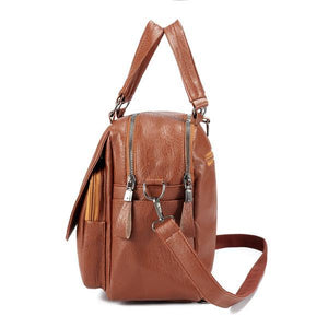 Faux Leather Handbag Travel Backpack Double Layer Crossbody Bag