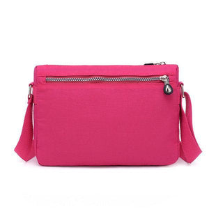 Nylon Water Resistant Multi-slot Crossbody Bag Solid Leisure Bag