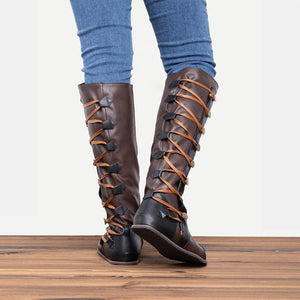 Women Fashion Side Buttons Flat Heel Boots