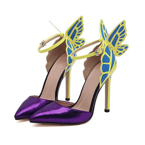 Purple Pointed Toe Elegant Butterfly Heels