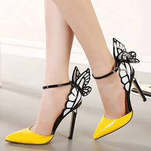 Load image into Gallery viewer, Purple Pointed Toe Elegant Butterfly Heels