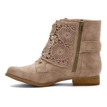 Load image into Gallery viewer, Women Casual Crunchy Lace Ankle Boots With Side Zipper