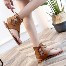 Load image into Gallery viewer, Plus Size Lace-up PU Flip-flops Sandals with Zipper