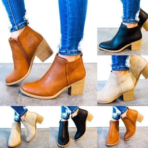 Casual Style Women Ankle Boots Anutumn Winter High Thick Heel Sexy Women Boots Cool Basic Leather Boots Shoes