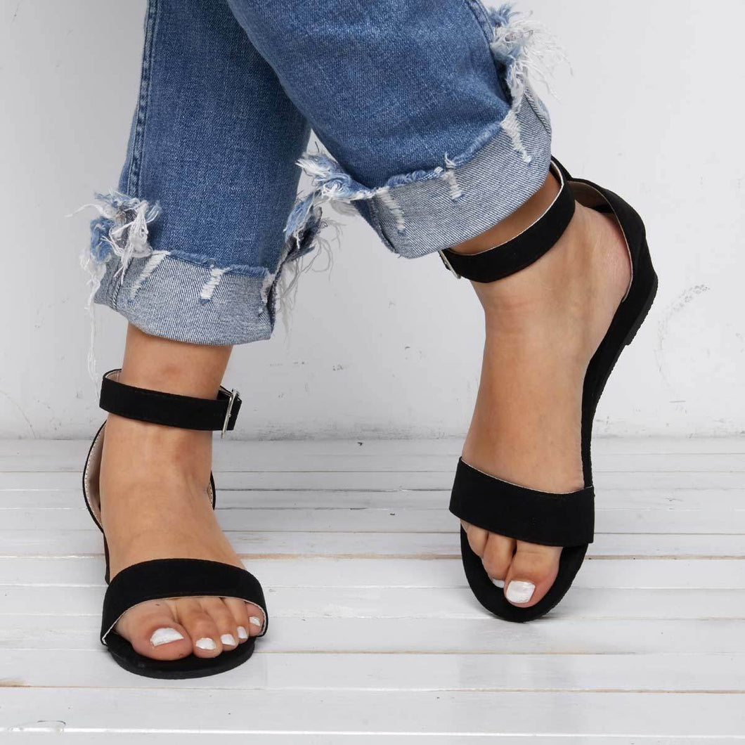 Women's Buckle Artificial Suede Wedges Sandals