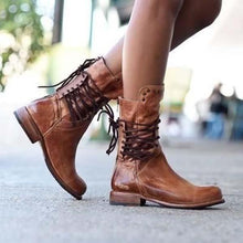 Load image into Gallery viewer, Women Vintage Boot Zipper Lace-Up Holiday Mid-calf Boots