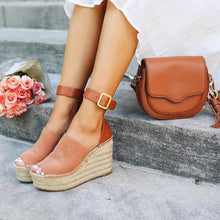 Load image into Gallery viewer, Summer Adjustable Buckle Wedge Heel Sandals