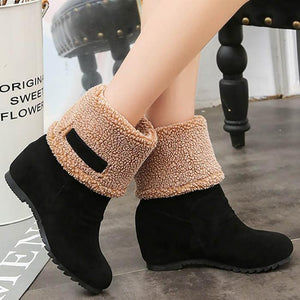 Wedge Heel Mid Calf Boots