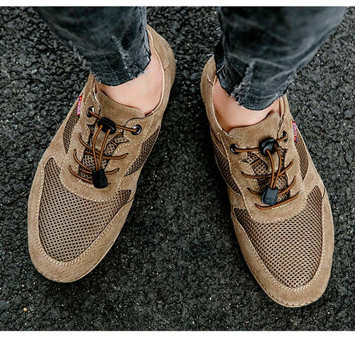 Mens Shoes Casual Footwear Summer Autumn Mesh Walking Shoe Sneakers Suede Leather Leisure Breathable
