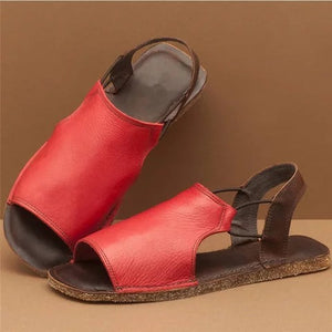 Sandals Flats Casual Single Shoes Woman Vintage PU Leather Non-slip Open Toe