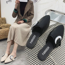 Load image into Gallery viewer, Fashion Outer Wear Pointed Toe Chunky Heel Slipper