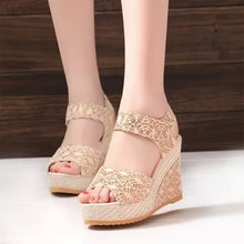 Load image into Gallery viewer, Classic Lace Slope Heel Sandals Leisure Summer Sandals