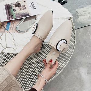 Fashion Outer Wear Pointed Toe Chunky Heel Slipper