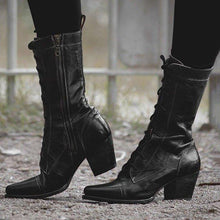 Load image into Gallery viewer, Women  Lace-up Low Heel Boots Vintage Comfort Boots