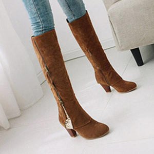 Women Plus Size Knee Height Boots Casual Shoes