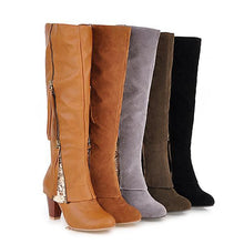 Load image into Gallery viewer, Women Plus Size Knee Height Boots Casual Shoes