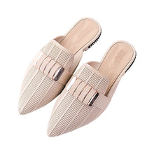 Load image into Gallery viewer, Fashion Summer Slippers Slides Shoes Metal Mules Shoes Pointed Toe Lady Flats Pointed Toe Shoes
