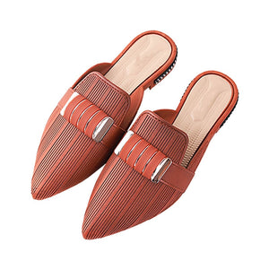 Fashion Summer Slippers Slides Shoes Metal Mules Shoes Pointed Toe Lady Flats Pointed Toe Shoes