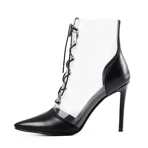 Lace up Transparent Ankle Mid-calf Sandals Boots