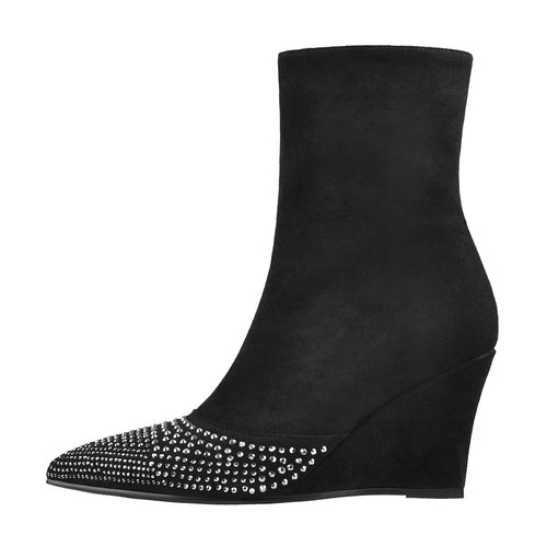 Rhinestone Pointed Toe Suede Ankle Wedge Ankle Boots