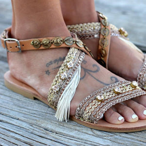 Flat Bottom Hollowed Out Handmade Casual Sandals