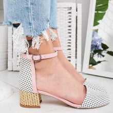 Load image into Gallery viewer, Girly Sweet Color Block Hollow Ankle-Strap Sandals