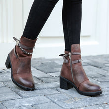 Load image into Gallery viewer, Leather Women Ankle Boots Round Toe Zipper-side Woman Cowboy Boots High Top