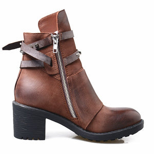 Leather Women Ankle Boots Round Toe Zipper-side Woman Cowboy Boots High Top