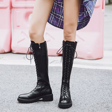 Load image into Gallery viewer, Large Size Lace Up Knee High Boots Women Genuine Leather Fashion Square Heel