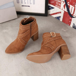 Women Flocking Booties Casual Comfort Chunky Heel Zipper Shoes