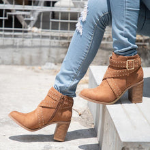 Load image into Gallery viewer, Women Flocking Booties Casual Comfort Chunky Heel Zipper Shoes