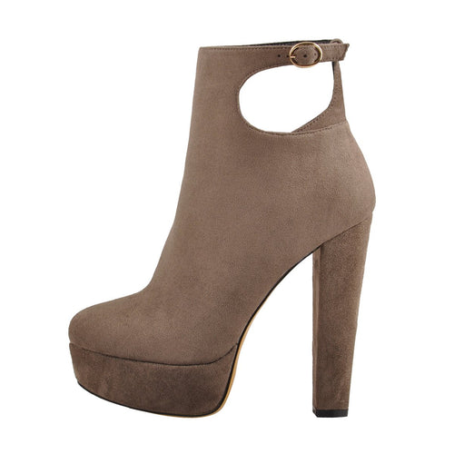 Cut Out Platform Round Toe Suede Ankle Boots