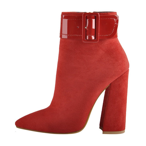 Red Suede Pointed Toe Buckle Chunky Heels Ankle Booties