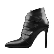 Load image into Gallery viewer, Pointed Black Matt Leather Triple Buckle High Heel Ankle Boots