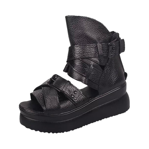Women Sandals Outside Women's Summer Roman Fish Mouth Shoes Thick Bottom Rivet Wedge Sandals