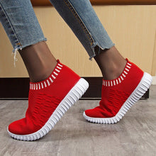 Load image into Gallery viewer, Women Knitting Flat Autumn Sneakers Slip On Comfort Loafers Female Hollow Out Platform Casual Shoes