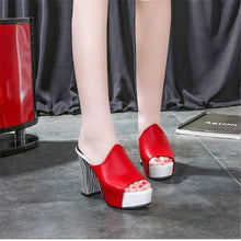 Load image into Gallery viewer, Women Elegant High Heel Sandals Peep Toe Platform Shoes Chunky Heel Shoes