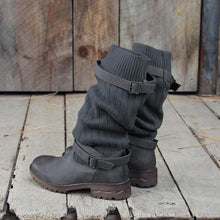 Load image into Gallery viewer, Comfy Cabin Sweater Boots Women Vintage PU Paneled Adjustable Buckle Casual Boots