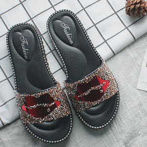 Slippers Diamond Slides Casual Flat Sandals Ladies Lips Flip Flops Beach Sandals Non-Slip Shoes