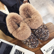 Load image into Gallery viewer, Women Winter Warm Boots Outsole Lady Snow Boots Shiny Brand Fashion Style Easy Wear Hairy Ankle Boots Plus