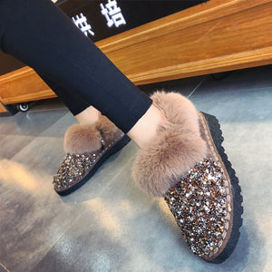 Women Winter Warm Boots Outsole Lady Snow Boots Shiny Brand Fashion Style Easy Wear Hairy Ankle Boots Plus
